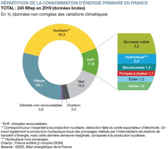 Répartition de la consommation de l'énergie primaire en France