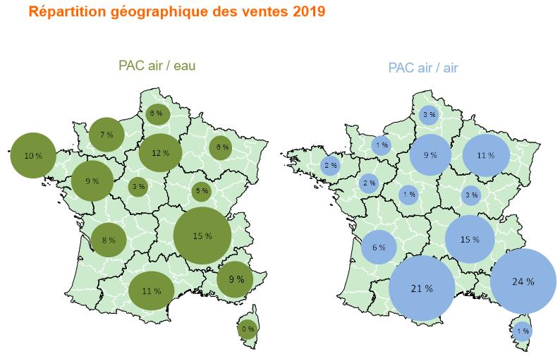 répartition géographique des ventes de pompes à chaleur aérothermiques 2019