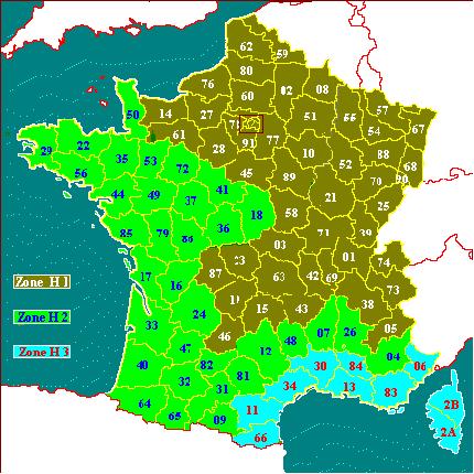 Carte de localisation des zones climatiques