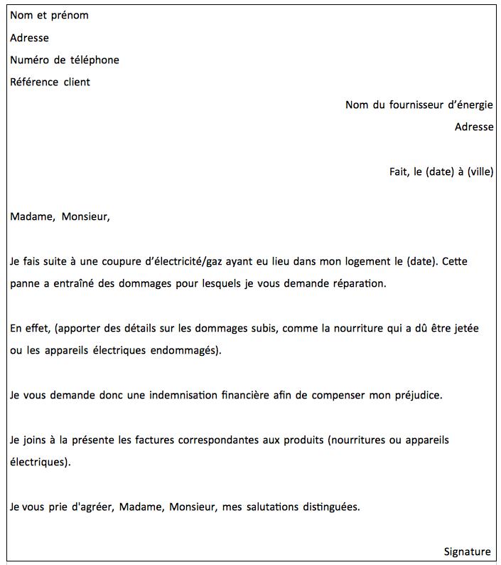Modèle de lettre d'indemnisation après coupure d'électricité ou de gaz