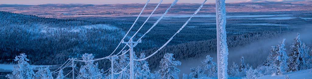 Effacement diffus ligne moyenne tension neige