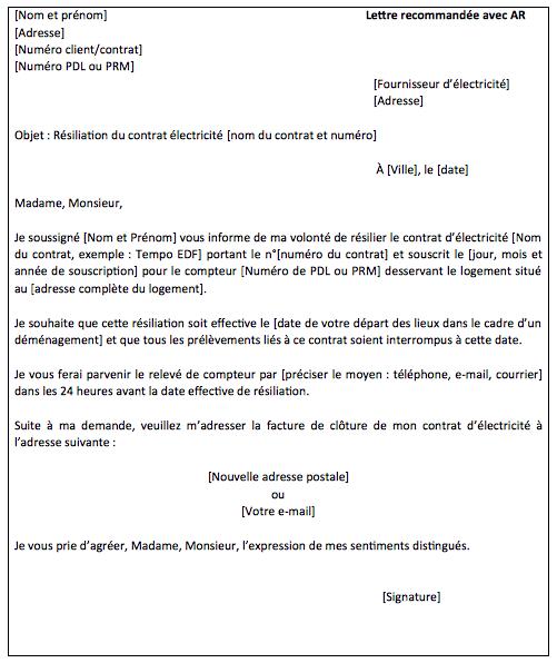 Lettre de résiliation d'un contrat d'électricité