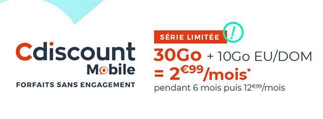 L'offre 30Go à 2€99/mois avec Cdiscount mobile !