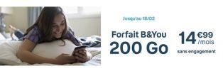 B&YOU 200 Go à 14€99 par mois chez Bouygues Telecom
